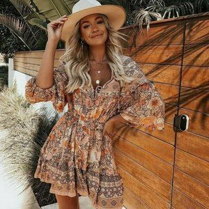 New Boho Fall  Floral Long Sleeve Dress